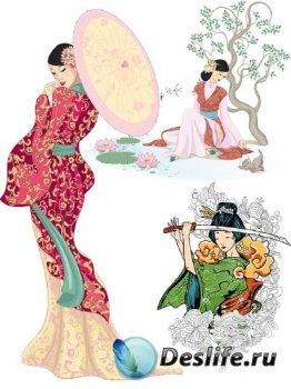 Рисованные восточные женщины (прозрачный фон)