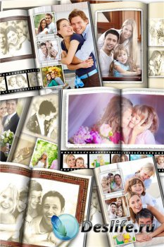 Развороты универсальной фотокниги – Семейный архив