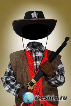 Многослойный фотошоп костюм для мальчиков – Юный ковбой