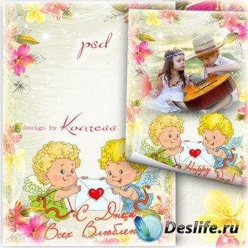 Романтическая рамка-открытка с ангелами для фотошопа к Дню Всех Влюбленных