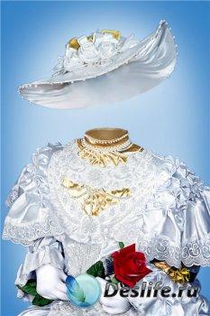 Фотошоп костюм для девочек – В белом платье и с розой