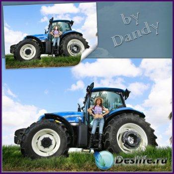Костюм для фотошопа - Девушка фермер на тракторе