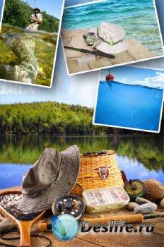 Рыбалка, рыбаки и рыбацкие снасти (клипарт)