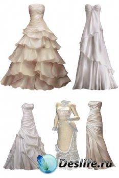 Белое свадебное платье (прозрачный фон)