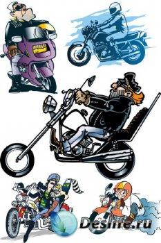 Мотоцикл, мопед, скутер (вектор)