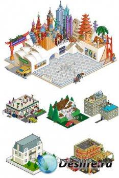 Пиксельные здания и сооружения (дома, небоскребы, магазины и т.д.)