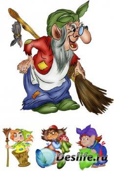 Сказочные персонажи: Баба Яга (прозрачный фон)
