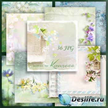 Подборка растровых jpg фонов для открыток и коллажей с весенними цветами
