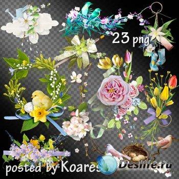 Подборка весенних кластеров с цветами и птицами на прозрачном фоне