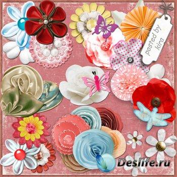 Клипарт - Украшалочки и цветочки из материала для оформления