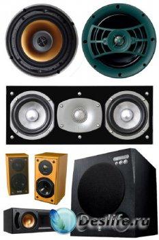 Аудиосистемы, колонки, сабвуферы (подборка клипарта) прозрачный фон
