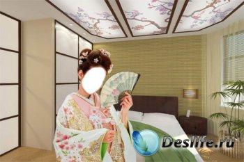 Костюм для фотошопа - Девушка в кимоно в японском интерьере