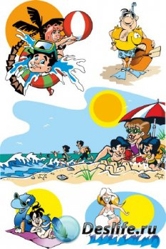 Пляж, курорт, отдых в векторе