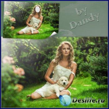 Костюм для фотошопа - Девушка с милым песиком