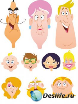 Лица: мужские, женские, детские (подборка вектора)