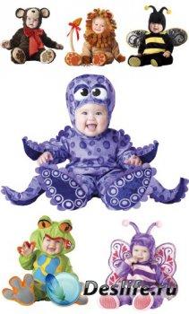 Младенцы в карнавальных костюмах (прозрачный фон)