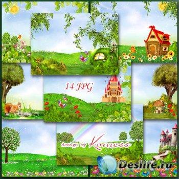 Детские растровые фоны для коллажей с цветами, бабочками и сказочными замка ...