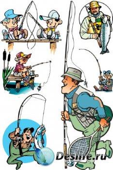 Рыбак, рыбалка, рыболовецкие снасти в векторе