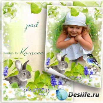 Рамка для детских фото с зайчиком и птичкой - Весенний денек