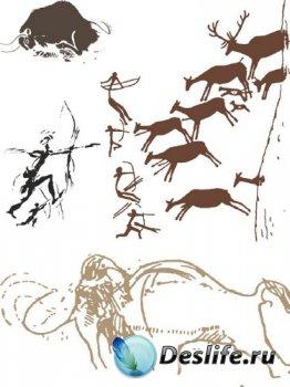 Наскальные рисунки (векторные отрисовки)