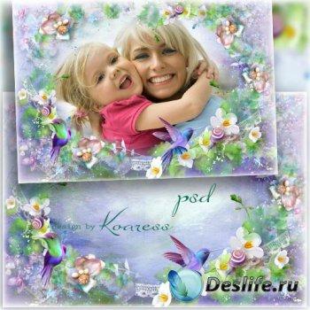 Романтическая рамка для фотошопа с нежными цветами и птицами - Счастье быть ...