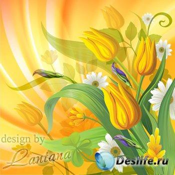 PSD исходник - Дарите жёлтые тюльпаны, превращая будни в сказку