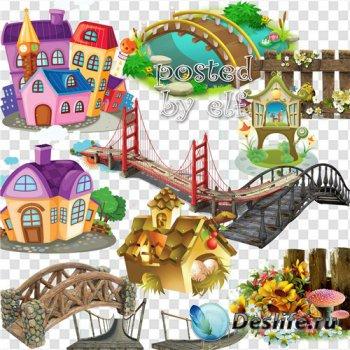 Мосты, здания, заборы и ограды - клипарт png