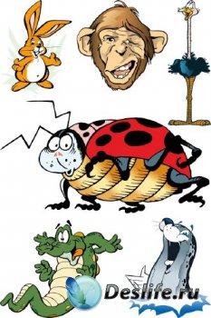 Векторная подборка животных, птиц и насекомых