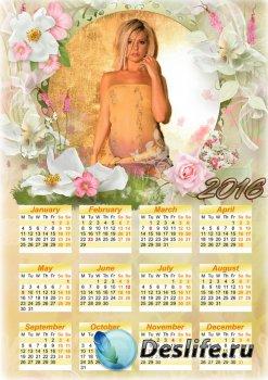 Календарь с рамкой для фото - Красивая нежность цветов