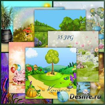Подборка детских рисованых фонов для дизайна
