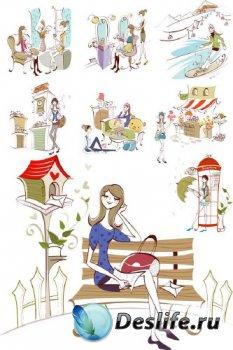Девушки и город (большая подборка векторных отрисовок)