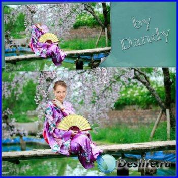 Костюм для фотошопа - Девушка в кимоно