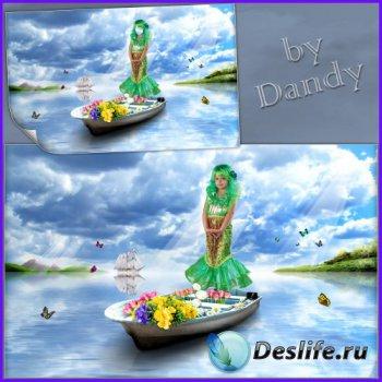Костюм для девочки - Русалочка на лодочке с цветами