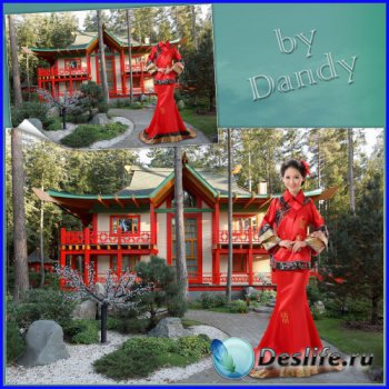 Костюм для фотошопа - Японская девушка в  кимоно