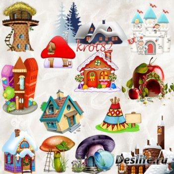 Клипарт для фотошопа – Сказочные дома, домики, замки, здания и города