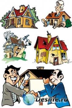 Недвижимость, риэлторы, домовладение (векторные отрисовки)