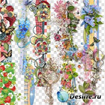 Цветочные бордюры, кластеры, скрап композиции - клипарт для дизайна в фотош ...