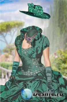 Женский Костюм для фотошопа – В зеленом бальном платье