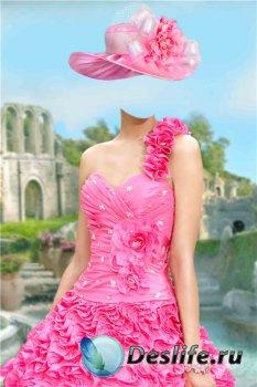 Костюм для фотошопа женский – Розовое платье с цветами
