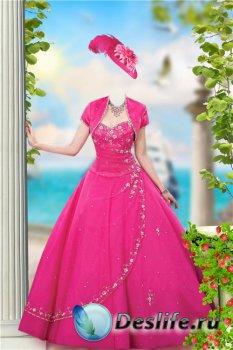 Женский фотошоп костюм – В бальном платье у моря