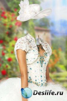 Костюм для фотошопа женский – Белое платье с балеро