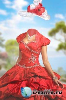 Женский костюм для фотошопа – Алое платье