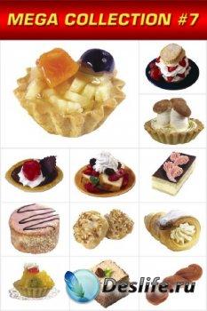 Мега коллекция №6: Пирожные сладости и десерты (прозрачный фон)