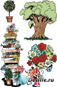 Растение, деревья и цветы (векторная подборка)