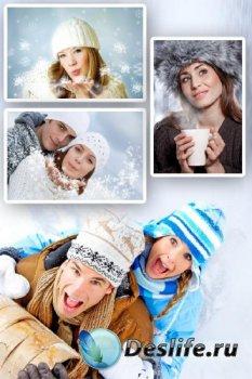 Девушки зимой (подборка растровых изображений)