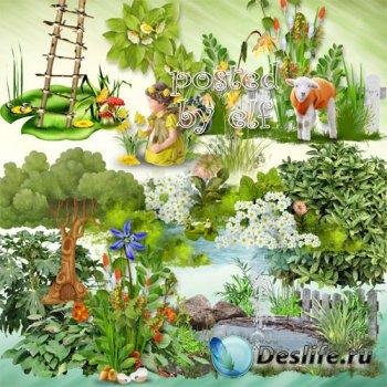 Клипарт в PNG - Лужайки, трава с цветами