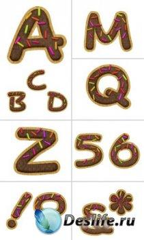 Алфавит (буквы в виде печенья на прозрачном фоне)