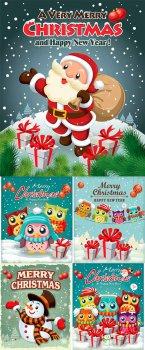 Винтажные новогодние постеры - векторный клипарт