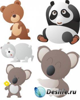 Животные: Медведь (подборка векторных отрисовок)