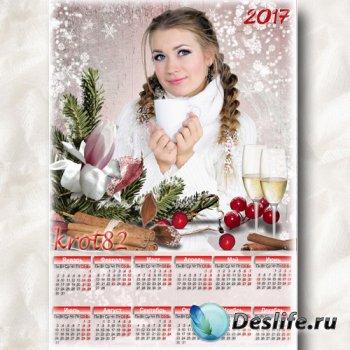 Новогодний календарь с еловой веткой и бокалами шампанского на 2017 год – Н ...